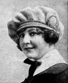 Vintage Crochet Poet Beret Hat Pattern 1910's Downton Abbey Boho Style - Bonus braided cord instructions
