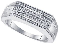 Sterling Silver 0.16CTW-DIA MICRO-PAVE MENS RING: Rings