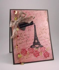 Inspired by Eiffel Tower With Roses and Script