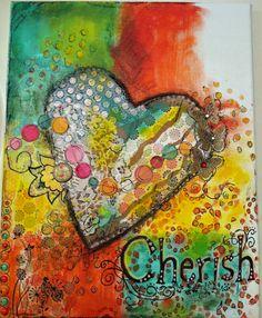 Cherish. Mixed media art on canvas