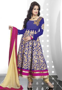Violet faux georgette semi stitch anarkali kameez is designed with resham, zari and patch border. Contrasting beige taffeta churidar and beige faux chiffon dupatta comes along with this. (Slight variation in color and patch border is possible). data-pin-do=