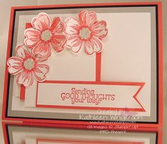 Stampin' Up! Flower Shop and Too Kind stamp sets; Whisper White, Basic Black, Smoky Slate, and Strawberry Slush card stocks; Strawberry Slush ink; Silver Glimmer paper; Itty Bitty and Pansy punches; Big Shot Squares Collection framelits dies.
