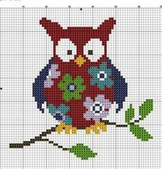 Floral owl pattern / chart for cross stitch, crochet, knitting, knotting, beading, weaving, pixel art, micro macrame, and other crafting projects.