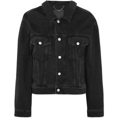 Balenciaga Denim jacket ($735) ❤ liked on Polyvore featuring outerwear, jackets, black, logo jackets, hooded jacket, jean jacket, denim jacket and hooded jean jackets