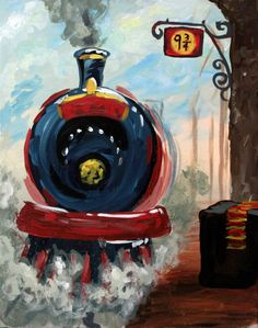 All Aboard! This inspired is coming up on the March calendar at Come in in just 3 hours! Harry Potter Kunst, Harry Potter Canvas, Harry Potter Painting, Harry Potter Artwork, Harry Potter Drawings, Train Drawing, Desenhos Harry Potter, Train Art, Watercolor Art