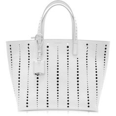 Jil Sander Large Ibiza Open White Perforated Leather Tote