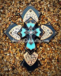 Wall Cross - Wood Cross - X-Small - Leopard / Cheetah with Antiqued Black and Turquoise (or colors of your choice) Wall Wood, Wooden Walls, Turquoise Walls, Wood Crosses, Silver Tops, Cheetah Print, Different Colors, Christmas Crafts, Crafting