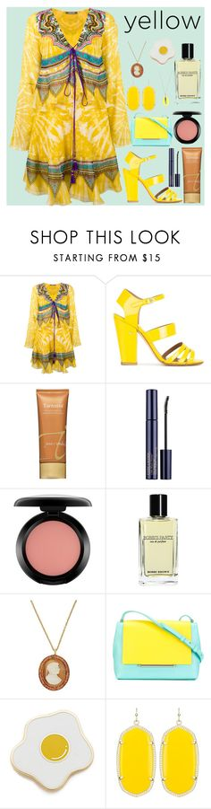 """Yellow fashion"" by gadinarmada-1 ❤ liked on Polyvore featuring Roberto Cavalli, Laurence Dacade, Jane Iredale, Estée Lauder, MAC Cosmetics, Bobbi Brown Cosmetics, Brigid Blanco, Delpozo, Georgia Perry and Kendra Scott"