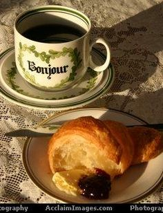 """Bonjour! When ordering a cup of coffee:""""café`"""" will result in a cup of espresso; """"café` au lait"""" is coffee with steamed milk; """"café` American"""" will reap filtered coffee like in America. Ask, """"Plus de sucre, s'il vous plait,"""" for sugar to sweeten. French tend to avoid crème in their coffee after noon."""