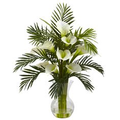 27 inch Artificial Calla Lily & Palm Combo in Vase: Multiple Colors 1301 Nearly Natural