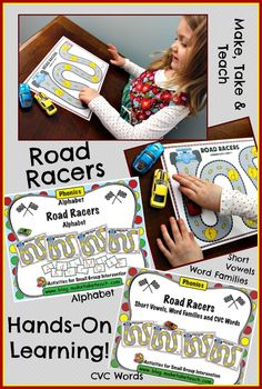 Road Racers for the alphabet, short vowels and CVC words.  Great hands-on activities perfect for centers or small group activities!