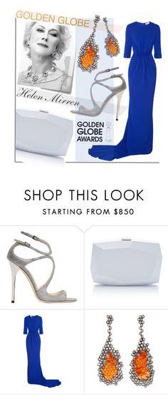 """Golden Globe Nominee Dame Helen Mirren"" by maranella on Polyvore featuring Jimmy Choo, Monique Lhuillier, Post-It, STELLA McCARTNEY, Arunashi and GoldenGlobes"