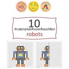 Robots spreken tot de verbeelding. Wie heeft ze gemaakt? Met welke materialen? Wat kan deze robot allemaal doen? Dit thema spreekt de kinderen erg aan, ze worden zelf echte robotuitvinders! Deze kralenplanken mogen niet ontbreken tijdens een thema over robots. Er zijn in totaal 10 robots, wat dacht je van de knuffelrobot, een grijp-robot op wielen of een robot die vliegt als een raket?