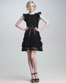 Little black dress in a romantic version by Valentino