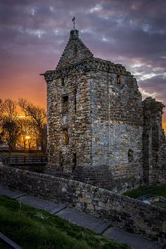 Sunset at St Andrew's Castle Scotland, I used to sit in a hidey hole in the side of this castle and watch the sun come up