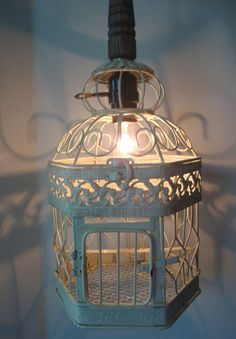 Hanging bird cage lamp pendant Anthropologie inspired creation NO WIRING REQUIRED
