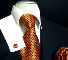 Orange and Navy Paul Malone Silk Tie Set - $30 at tiedrake.com. Not bad for the…