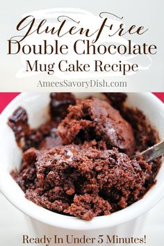 Double chocolate gluten-free mug cake is a quick and easy microwaveable dessert. This simple mug cake recipe is a decadent dessert that comes together in less than 5 minutes! Easy Chocolate Desserts, Chocolate Mug Cakes, Gluten Free Chocolate, Chocolate Recipes, Gluten Free Mug Cake, Gluten Free Sweets, Gluten Free Baking, Simple Mug Cake Recipe, Easy Mug Cake