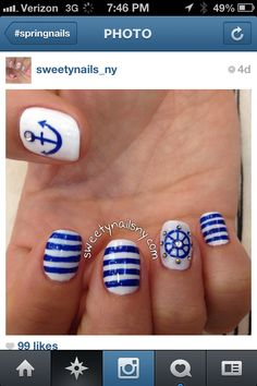 Blue and white summer nails