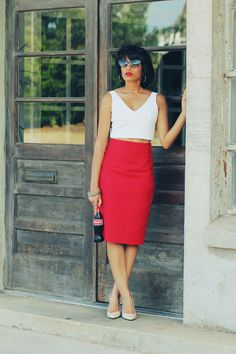 crop top & high-waist pencil skirt (red, white & nude)