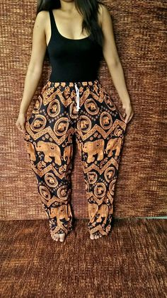 Elephants Yoga Harem Pants Boho Fabric Baggy Comfy Style Hippie Gypsy Plus Size Aladdin Trousers Beach Summer Clothing Men women in Orange