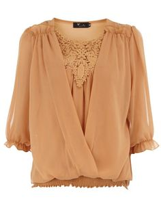 Gold crochet chiffon blouse