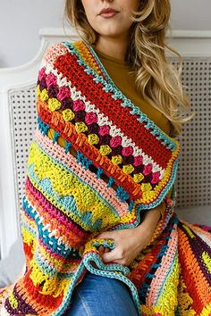 vibrant blanket is designed especially for beginners to practise basic stitches and combinations, with a stunning end result.This vibrant blanket is designed especially for beginners to practise basic stitches and combinations, with a stunning end result. Beau Crochet, Love Crochet, Beautiful Crochet, Rainbow Crochet, Afghan Patterns, Crochet Blanket Patterns, Crochet Blankets, Crochet Afghans, Crochet Sampler Afghan Pattern