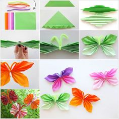 Here is a nice tutorial on how to easily fold DIY paper butterfly. A folded paper butterfly is really nice , easy, and fun to make. You searched for DIY Easy Folded Paper Butterflies - i Creative Ideas DIY Easy Folded Paper Butterflies, even children can Diy Origami, Origami Butterfly Easy, Useful Origami, Butterfly Crafts, Origami Tutorial, Butterfly Kids, Butterfly Party Decorations, Origami Folding, Butterfly Design
