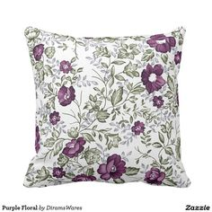 Purple Floral Pillow. Artwork designed by Welcome to Diram's Wares. Price $32.85 per pillow