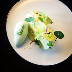 Cottage cheese and green apple mousse pineapple pink lady Apple  celery ice cream - by @czarneckigregory  create a  profile on Cookniche.com to join our culinary community. Direct link in bio. by cookniche