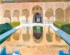 """ÚLTIMOS AÑOS (1911-1920). """"EL PATIO DE COMARES, LA ALHAMBRA DE GRANADA"""", 1917. En el mes de febrero de 1917 Sorolla pinta por última vez en Granada. Su pintura se hace mucho más sintética, sólo representa lo imprescindible y en muchas ocasiones como envuelto en vapor de agua, que provoca una desvalorización de los contornos. Sigue investigando en nuevas fórmulas en el tratamiento de la luz."""