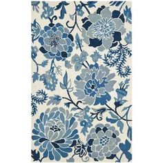 My Texas House by Orian Indoor/Outdoor Lady Bird Harbor Blue Area Rug & Reviews | Wayfair Round Area Rugs, Blue Area Rugs, Martha Stewart, Floral Area Rugs, Beige Background, Indoor Outdoor Area Rugs, Living Room Carpet, Blue Ivory, Carpet Runner