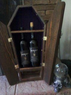 Vampire Wine in a coffin. Love this!!! My husband needs to make me one for my Vampire wine!