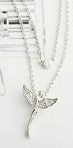 Silver rhinestone guardian angel wings charm necklace gift fashion jewellery