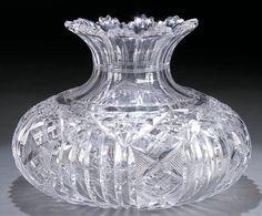 Large cut glass center vase.
