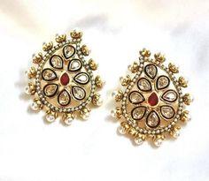 Indian Bollywood New Kundan Pearl Ruby Gemstone Gold Style Stud Earrings Jewelry #vidhijewelss #Stud