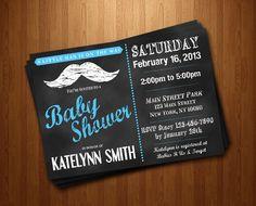 Mustache Chalkboard Baby Boy Little Man Baby Shower Printable Invitation moustache. $10.00, via Etsy.