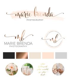 Watercolor Logo Design, Custom Logo Design, Rose gold Branding kit Logo Design Premade Branding Package, stamp, Photography Logo, watermark