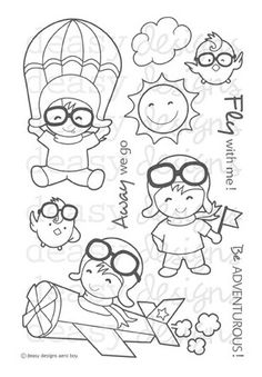 Aero Boy clear stamp set from Deasy Designs