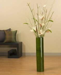 25 in. Green Cylinder Tall Vase, Ivory Lilies & Dried Grasses, green mantis Bamboo. Love it - DriedDecor.com