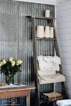 Repurposed Ladder Shelf via Knick of Time @ knickoftimeinteriors.blogspot.com