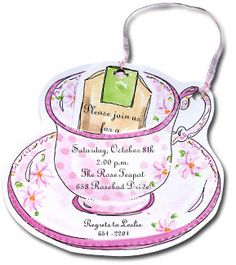 Teacup invitation for tea party cup saucer and teabag