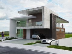 Modern Exterior Homes When you think of building a new home you are faced with two choices, build a traditional house or choose a modern house plan. Because the word modern means 'current for… Architecture Minecraft, Modern Architecture House, Residential Architecture, Architecture Design, Architecture Student, Villa Design, Facade Design, Exterior Design, Exterior Homes