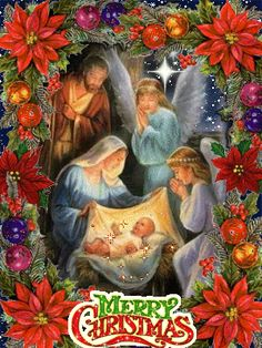Christmas night ~ Jesus, Mary, Joseph and Angels . <3 <3