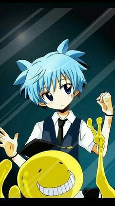 Nagisa et Koro-sensei - Assassination Classroom Anime Meme, Got Anime, Otaku Anime, Anime Manga, Animes Wallpapers, Cute Wallpapers, Cool Animes, Anime Behind Glass, Mirrored Wallpaper