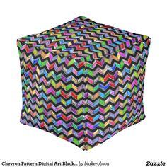 Chevron Pattern Digital Art Black Strips Cube Pouf
