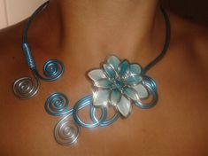 Image - Collier fleur turquoise - Les créations de Jenny - Skyrock.com