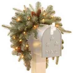 Buy the Feel Real® Frosted Arctic Spruce Mailbox Swag with Cones and Warm White Battery Operated LED Lights with Timer at Michaels. Put a smile on the mailman's face and all who pass by with this Frosted Arctic Spruce Mailbox Swag. Noel Christmas, Christmas Crafts, Christmas Ornaments, Christmas Mailbox Decorations, Christmas Tables, Christmas Central, All Things Christmas, Christmas Wreaths To Make, Purple Christmas
