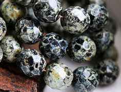 12mm Picasso Black beads, Fire polish czech beads, glass, faceted, rustic -6Pc - 0787