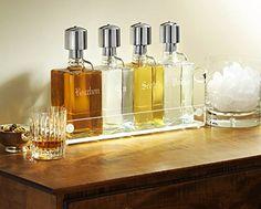 Liquor-Decanter-Bar-Set-with-Chrome-Pump-Dispensers-and-Acrylic-Tray-Contemporary-Font-0-2